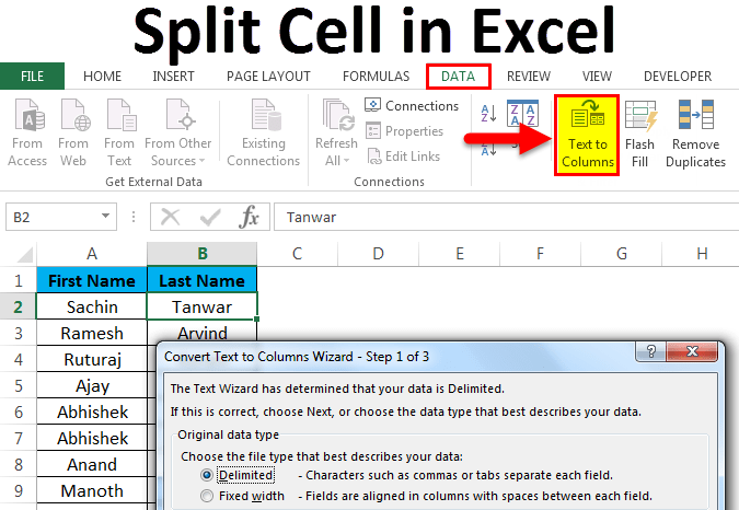 Split Cell In Excel Examples How To Split Cells In Excel