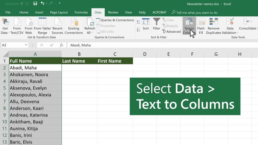 Split Data Into Different Columns In Microsoft Excel YouTube