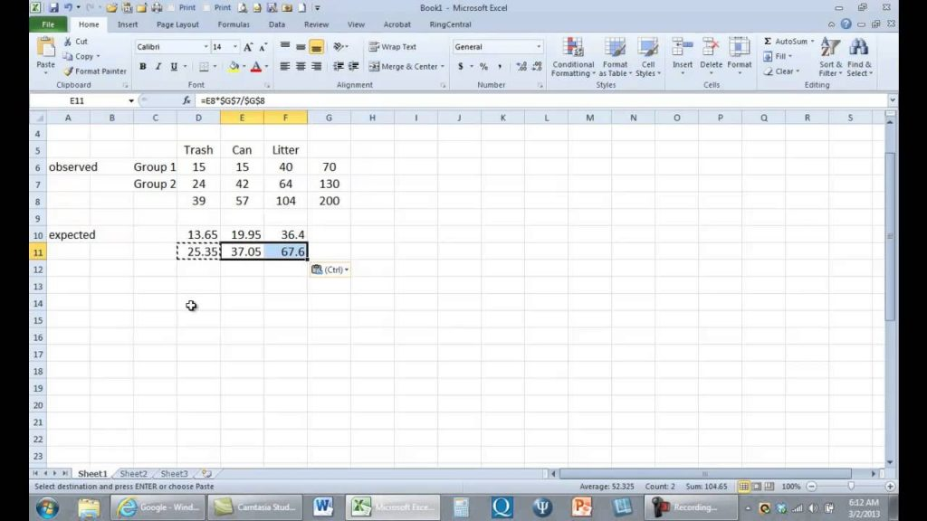 Computing Chi Square In Excel YouTube