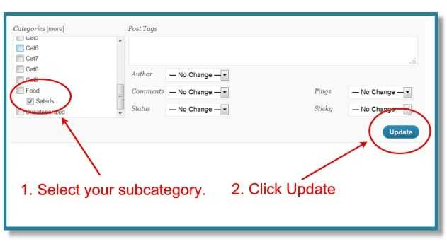 How To Move Multiple WordPress Posts To A Subcategory With