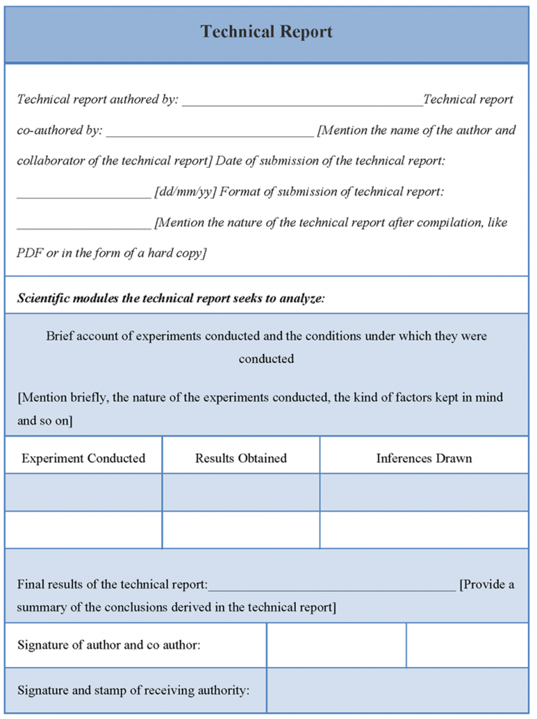 Technical Report Template Of Technical Report Sample