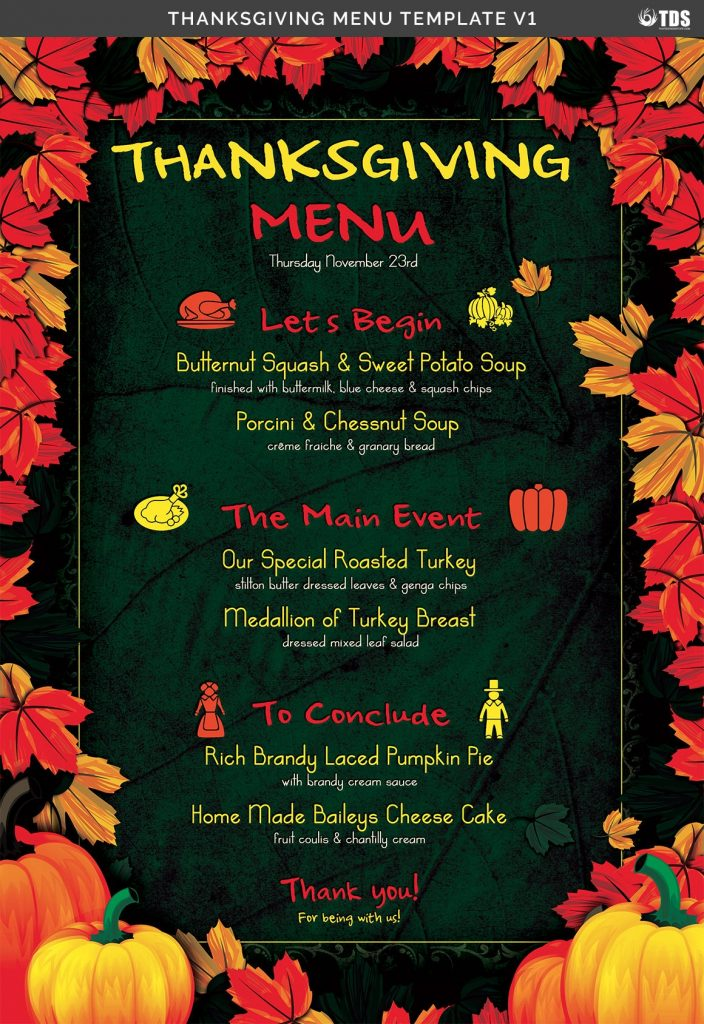 Thanksgiving Menu Template V1 By Thats Design Store