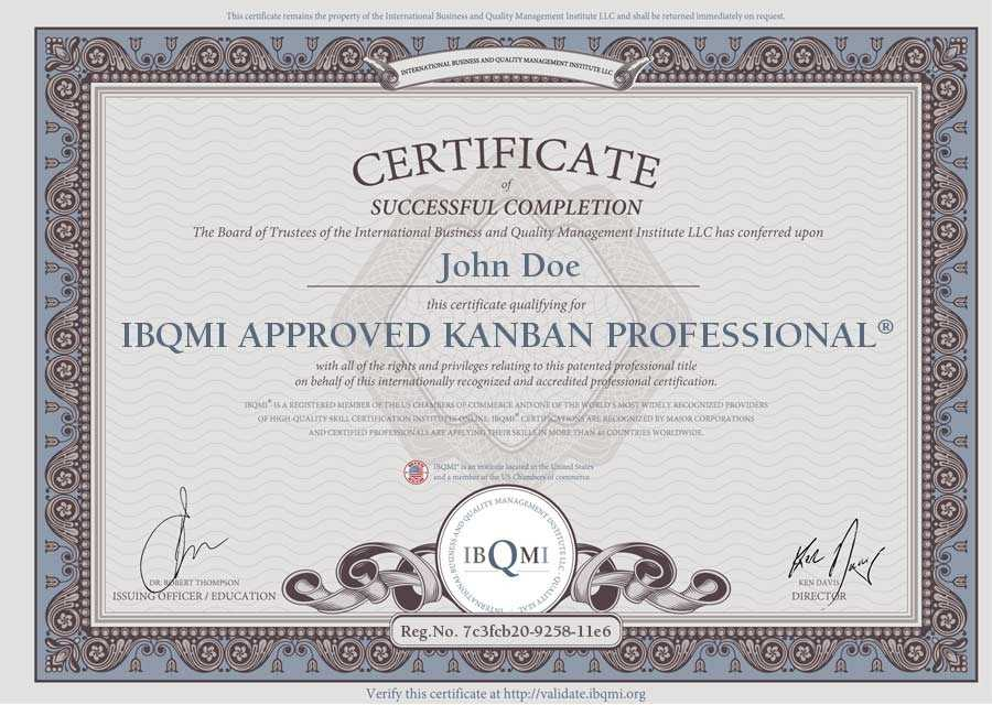 The Original IBQMI APPROVED KANBAN PROFESSIONAL the
