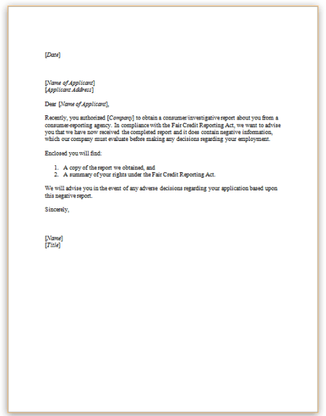 This Sample Letter To Be Sent To A Candidate Prior To The
