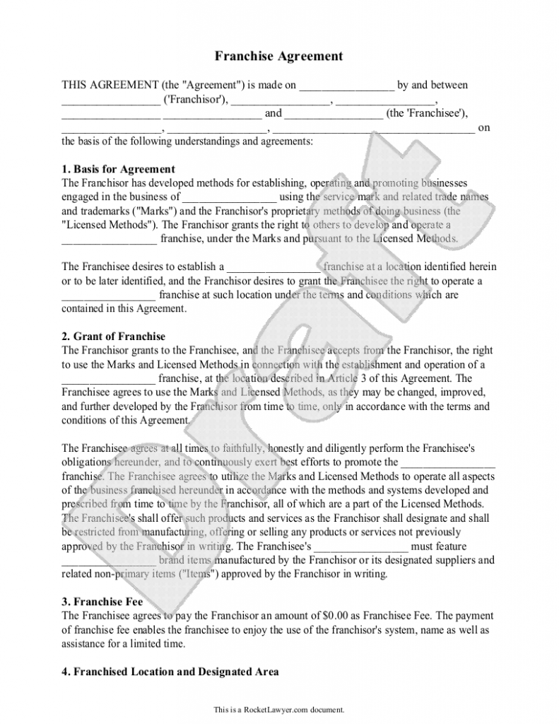 Top 5 Samples Of Franchise Agreement Templates Word