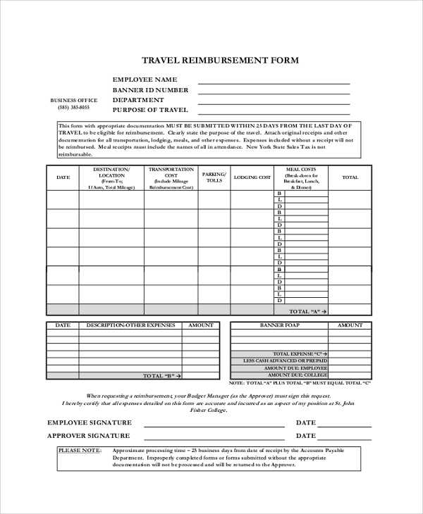 FREE 9 Sample Reimbursement Forms In PDF MS Word Excel
