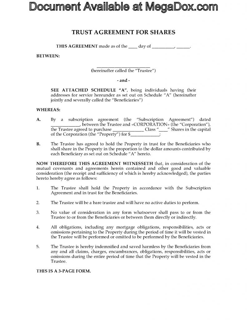 Trust Agreement For Shares Legal Forms And Business