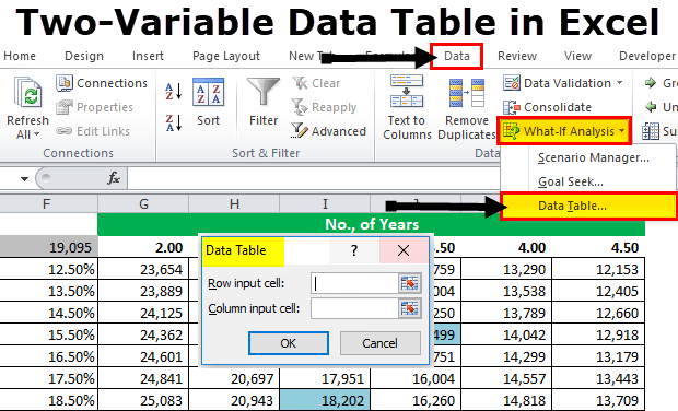 Create Two Variable Data Table In Excel Step By Step