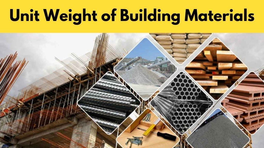 Unit Weight Of Building Materials A Complete List
