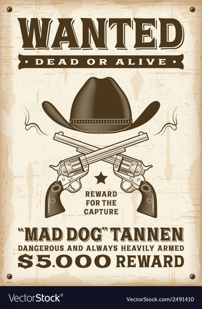 Vintage Western Wanted Poster Royalty Free Vector Image