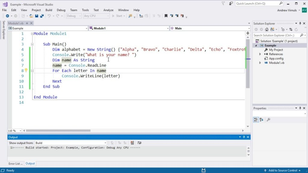 Visual Basic Using For Each To Loop Through An Array Or