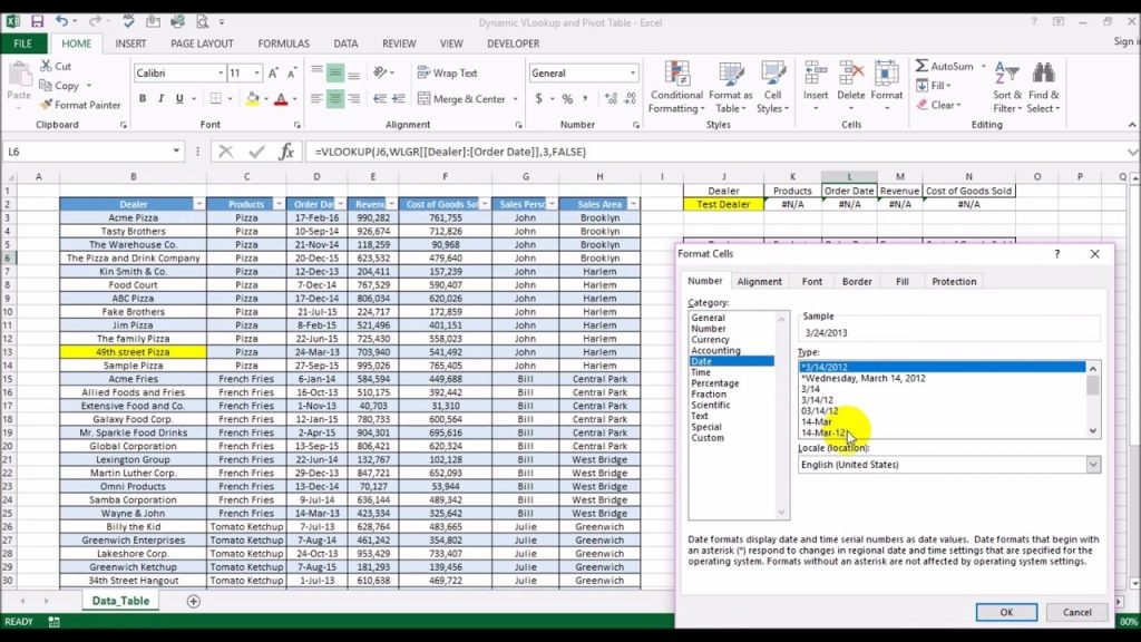 Dynamic VLookup And Pivot Table YouTube