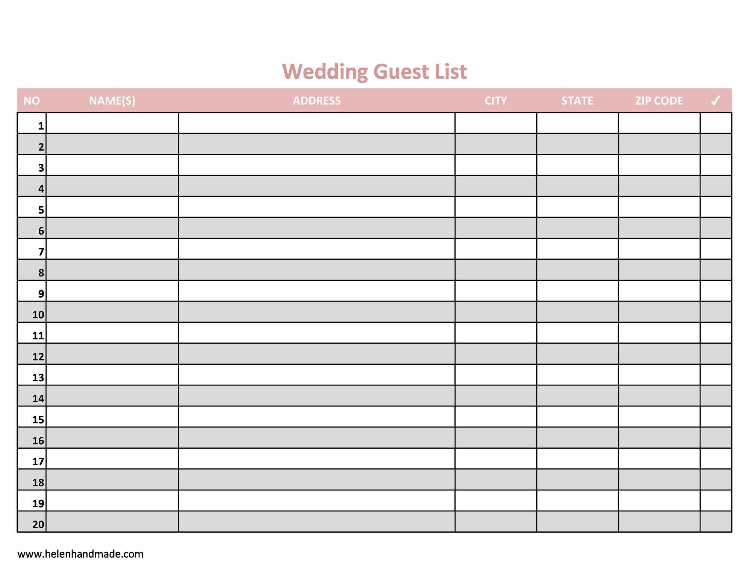 35 Beautiful Wedding Guest List Itinerary Templates