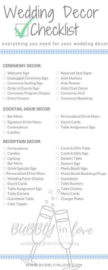 Wedding Decor Checklist Everything You Need To Plan Your