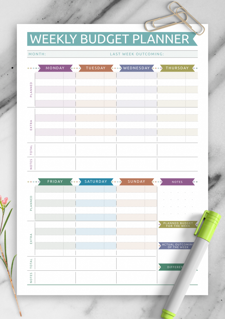 Download Printable Weekly Budget Casual Style PDF