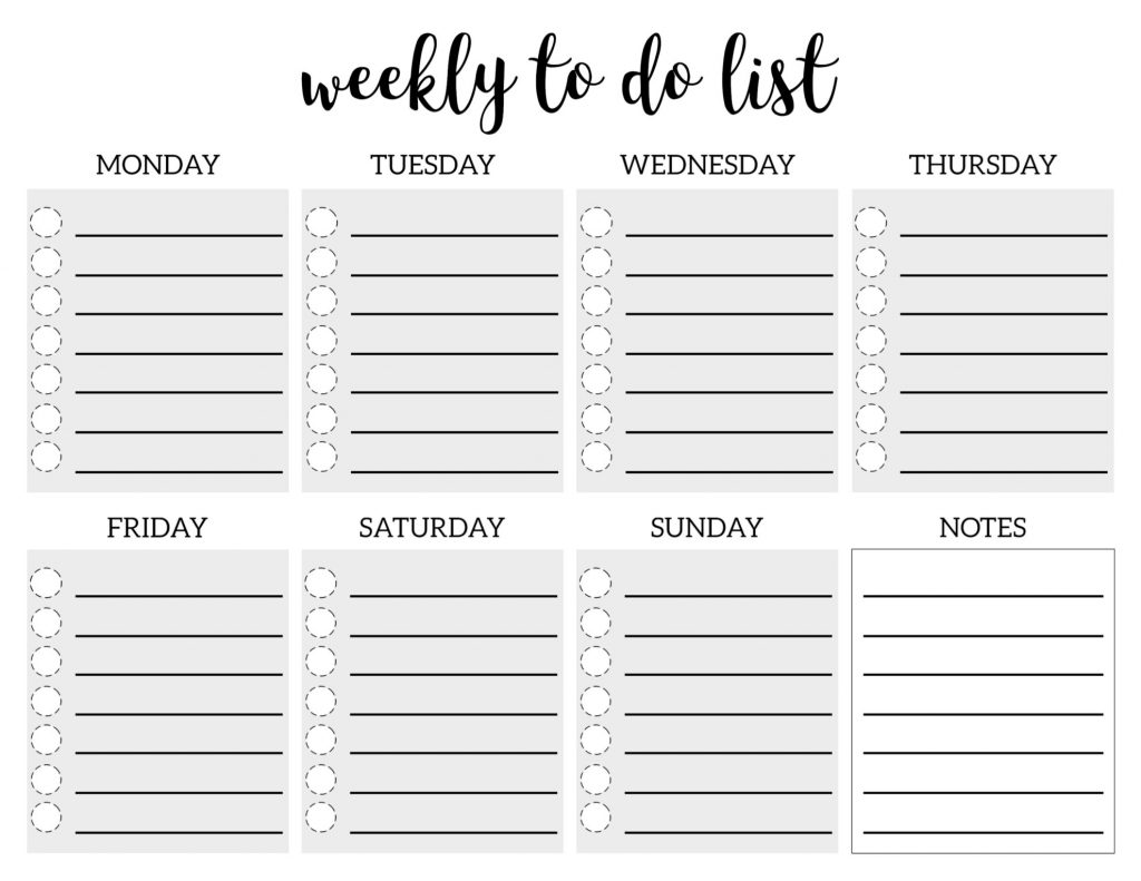 Weekly To Do List Printable Checklist Template Paper