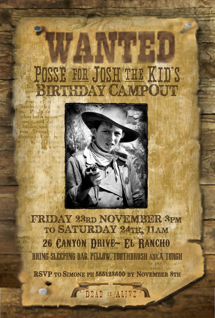 Wild West Wanted Poster Printable Party Invitation