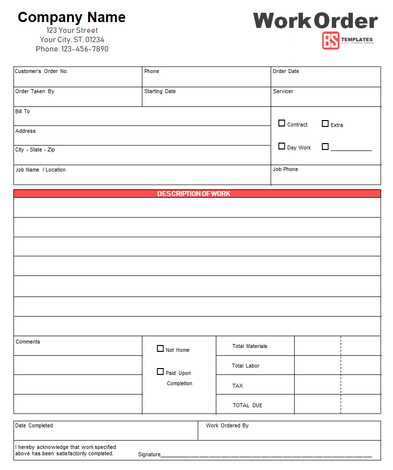 Work Order 11 Free Work Order Form Format Template For