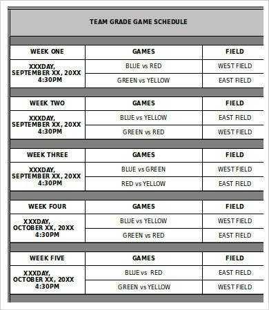 Team Schedule Template 10 Free Word Excel PDF Format