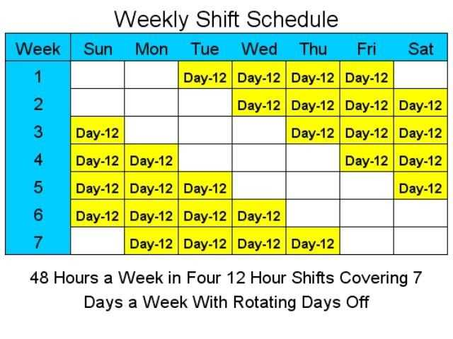 12 Hour Shift Schedule Template Excel Printable Schedule
