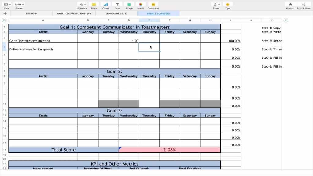 How To Use The 12 Week Year Excel Scorecard On Vimeo