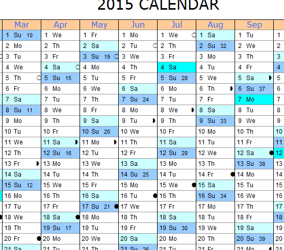 2015 Monthly Calendar My Excel Templates