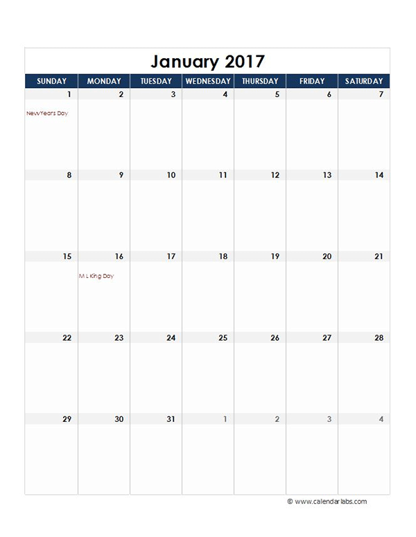 2017 Excel Monthly Calendar Template Free Printable