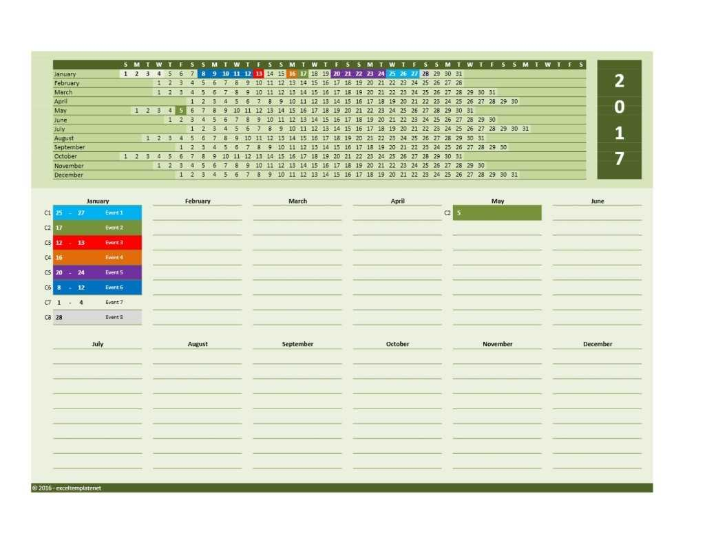 2019 Yearly Calendar Template ExcelTemplate