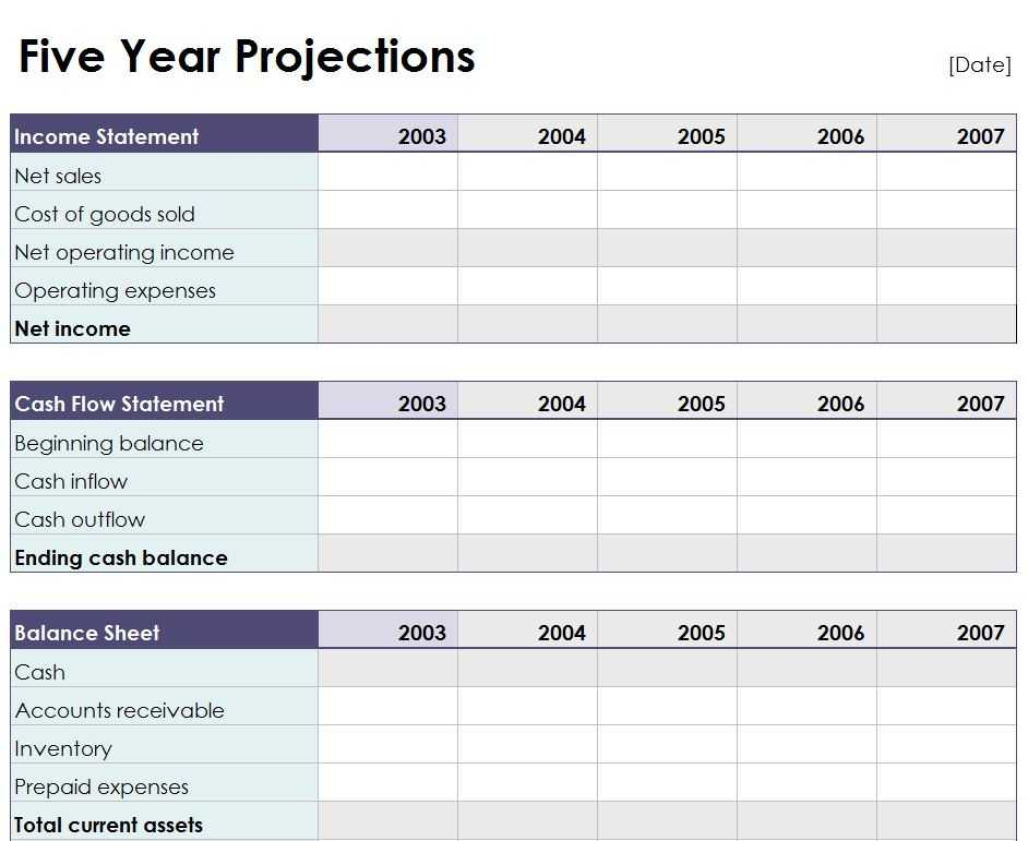 Five Year Projection Worksheet 5 Year Projection Worksheet