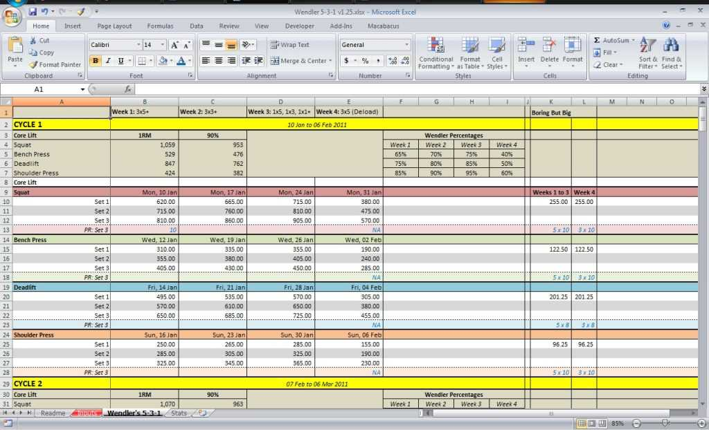 531 Spreadsheet Download All Things Gym