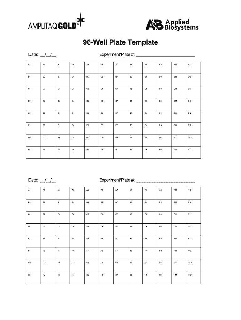 96 Well Plate Template Fill Online Printable Fillable