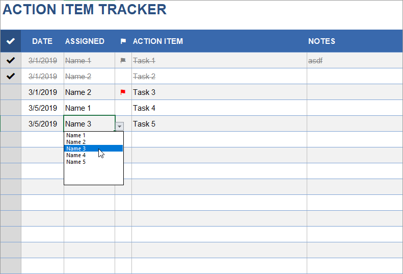 Action Items Template For Excel