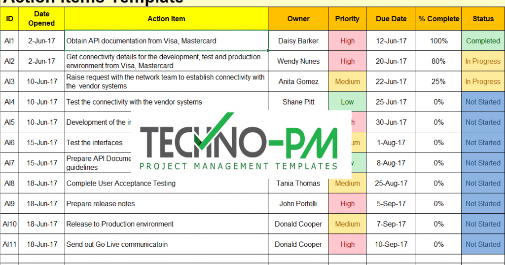Action Items Template For Excel Free Project Management