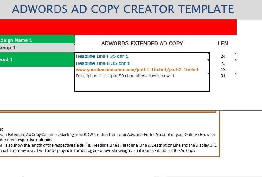 AdWords Extended Ad Creator Template My Excel Templates