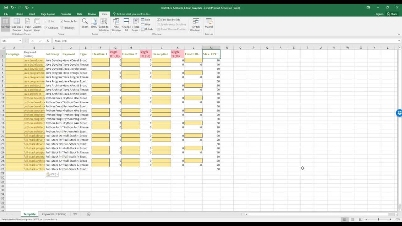 Create AdWords Campaigns Faster With This Excel Template