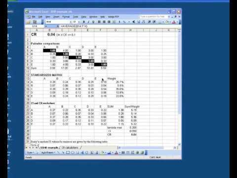 AHP Using Microsoft Excel YouTube