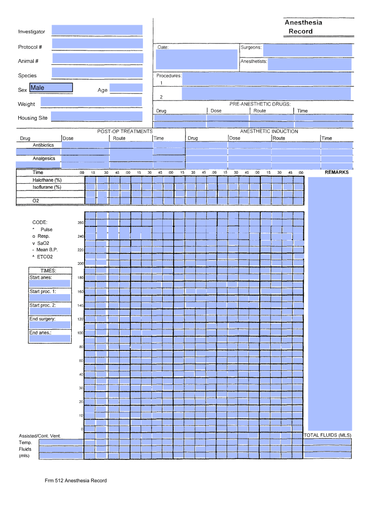 Veterinary Anesthesia Record Template Excel Fill Online