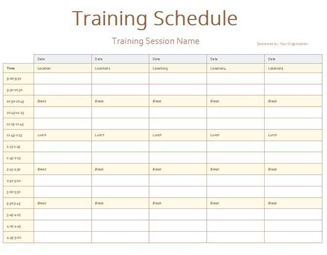 Army Training Schedule Template Free Word Templates