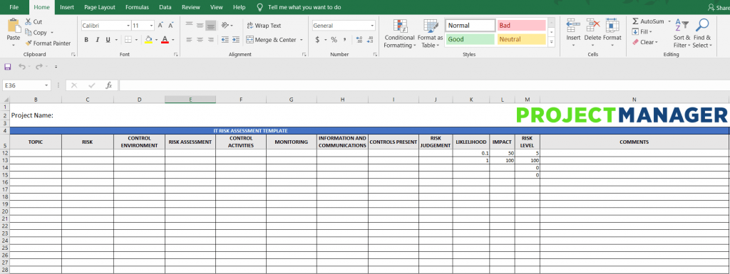 IT Risk Assessment Template Free Excel Download
