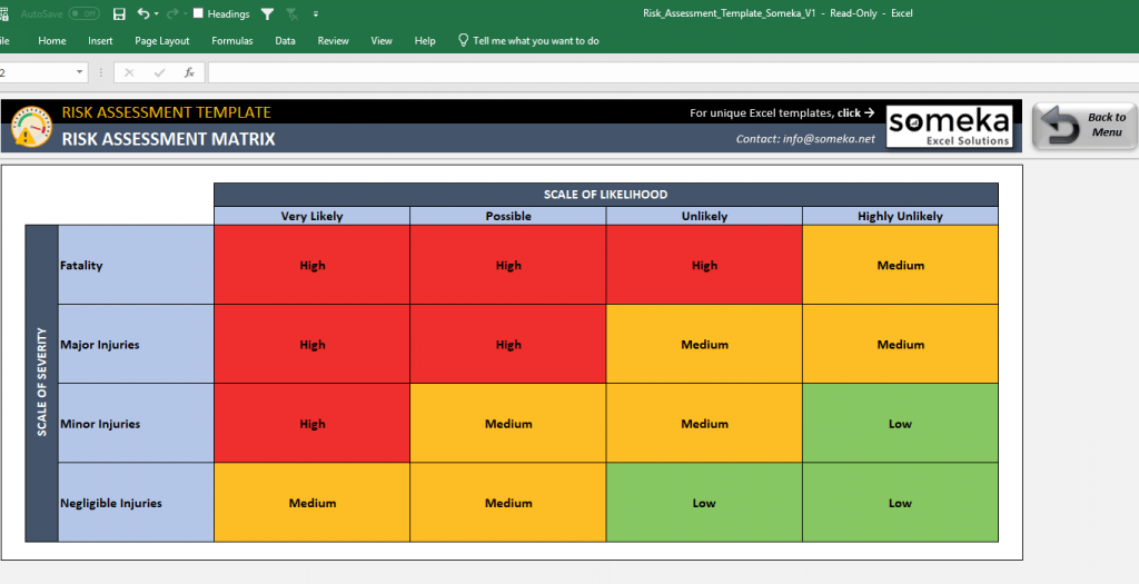 Risk Assessment Excel Template Free Template For Hazard