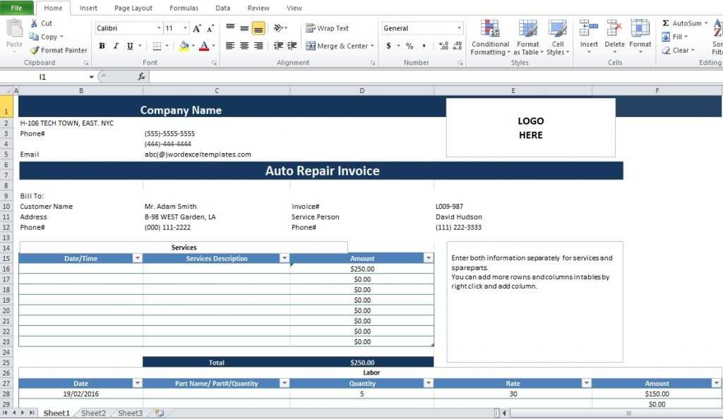 Auto Repair Invoice Template Free Word PDF And Excel Format