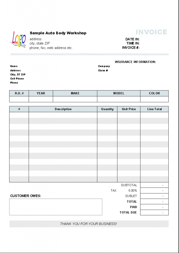 Automotive Repair Invoice Template Invoice Manager For Excel