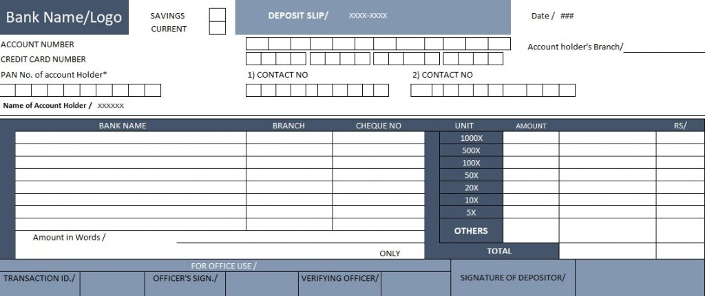 Download Bank Deposit Slip Template Excel Spreadsheet