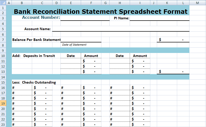 Simple Bank Reconciliation Template Excel Spreadsheet