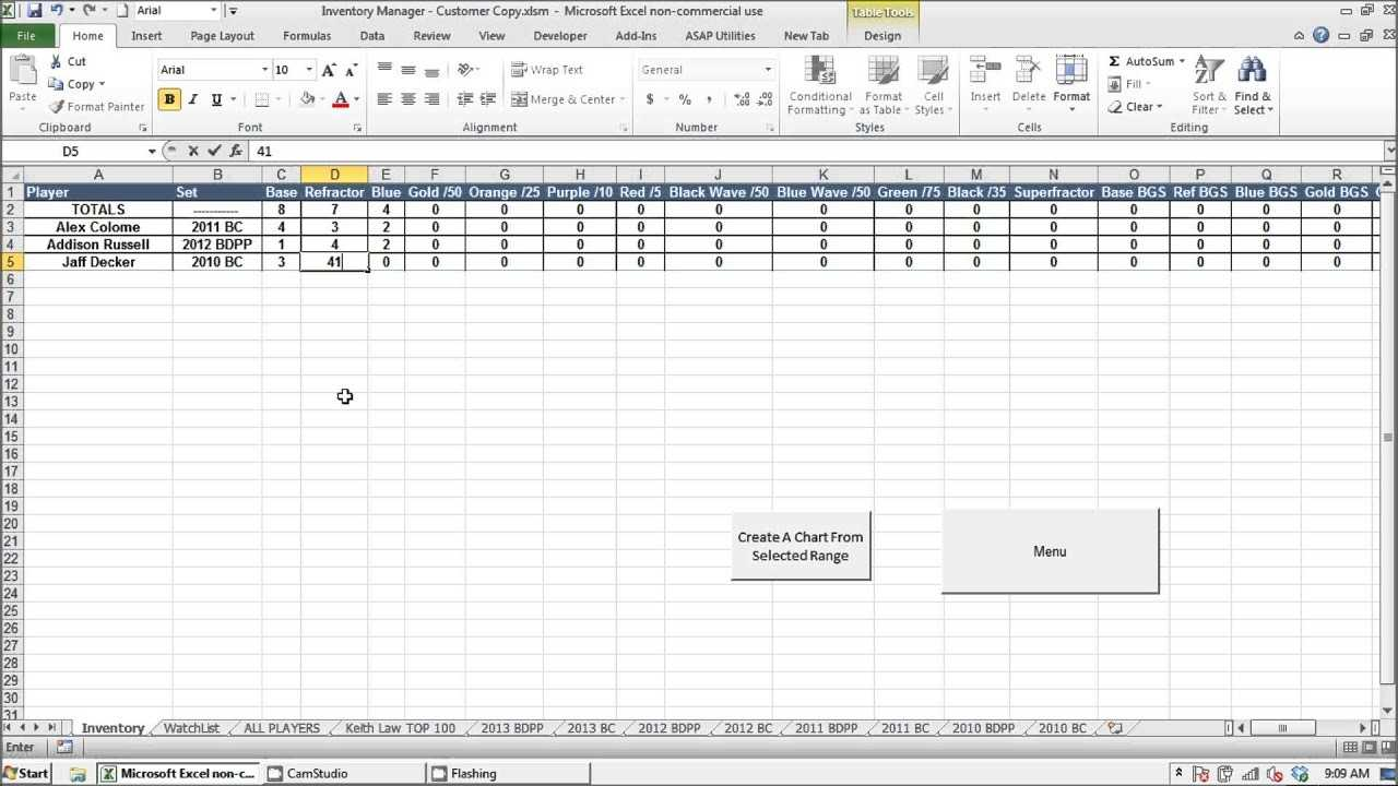 Prospect Baseball Cards Inventory Manager Excel Program