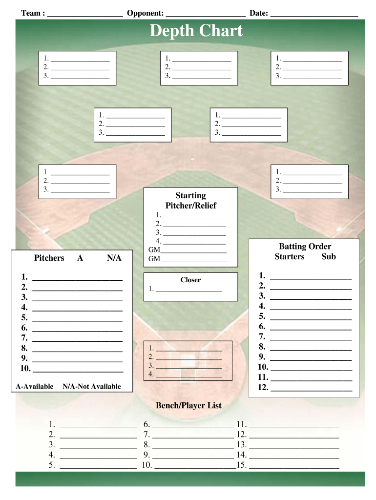 Baseball Depth Chart Template Fill Online Printable