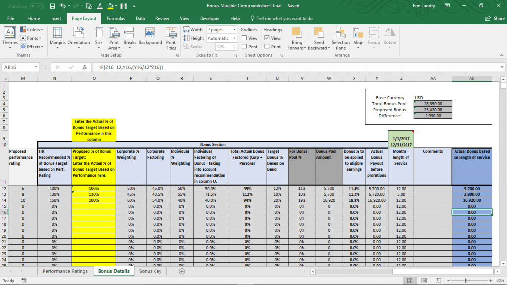 Variable Compensation Plan Template