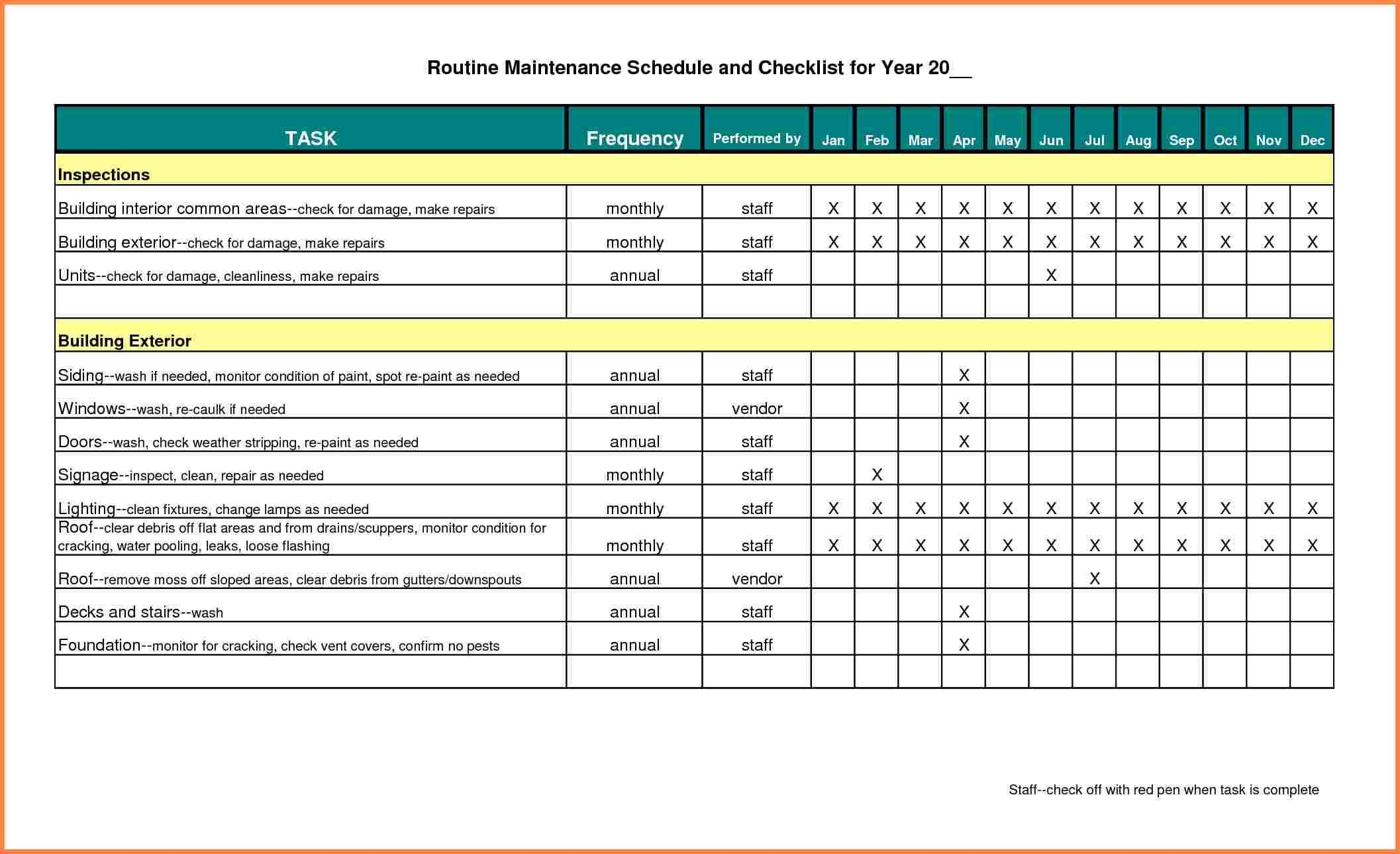Building Maintenance Schedule Excel Template Printable