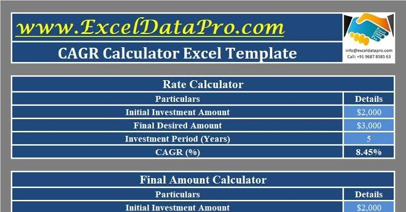 Download CAGR Calculator Excel Template ExcelDataPro