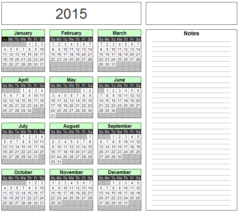 Free Excel Calendar Template Yearly Monthly 2015